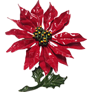 Large red enamel poinsettia pin