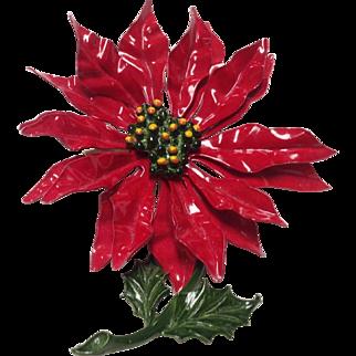 Large red enamel poinsettia pin
