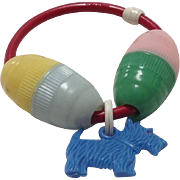 Vintage Baby Rattle with Scottie Dog