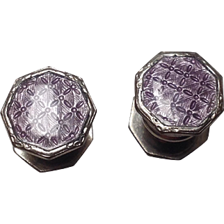 Baer and Wilde Kum-A-Part cuff links with textured lavender celluloid faces.