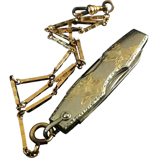 Voos USA Gentleman's Fruit knife with 12K Gold plated watch fob chain