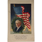 Unused Woodrow Wilson Flag Series Postcard