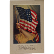 1918 Patriotic Postcard with American Flag