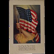 1918 Patriotic Postcard with American Flag