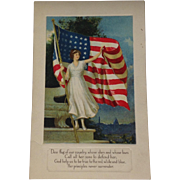 Unused Patriotic Postcard American Flag