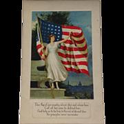Unused Patriotic Postcard American Flag - Red Tag Sale Item