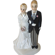 VIntage 1950's  Napco Bride and Groom Glazed Bisque Cake Topper