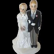 VIntage 1950's  Napco Bride and Groom Glazed Bisque Cake Topper