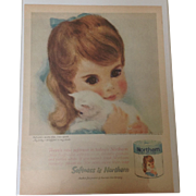 Original 1961 Blue Northern Girl Life Magazine advertising for Northern Tissue