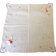 Hand embroidered handkerchief with hand stitched relief bees