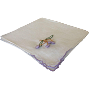 Vintage Handkerchief with Appliqués of Handmade and Hand Embroidered Berries