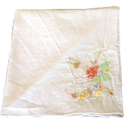 Vintage Handkerchief with Pulled Threadwork, Hand Embroidery and Appliqué leaves