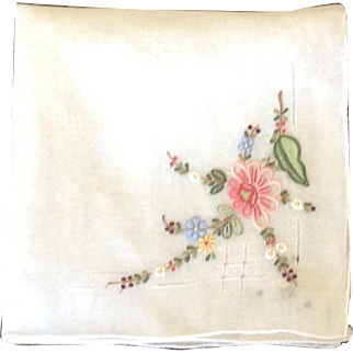 Vintage embroidered handkerchief with pulled thread work