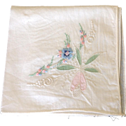 Vintage hand embroidered handkerchief with white work, hand tinting and