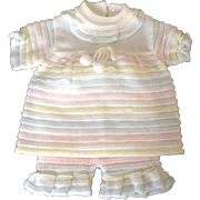 Delicate vintage 1970's pastel two piece infant outfit