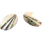 Oval pierced earrings with Mother of Pearl inlaid with abalone strips