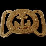 Nautical theme gold tone belt buckle
