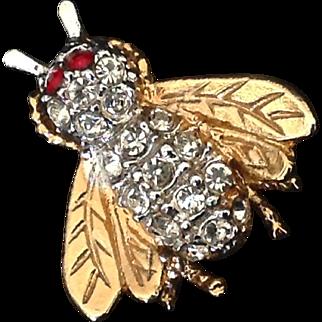 Rhinestone bee or fly pin with red rhinestone eyes