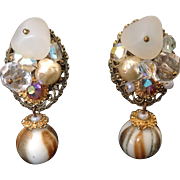 Bead cluster clip earrings with Aurora Borealis, frosted glass and faux pearl beads and Murano glass dangles