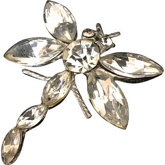 Vintage Dragonfly Rhinestone Pin