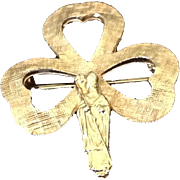 Gold tone Shamrock with St. Patrick pin