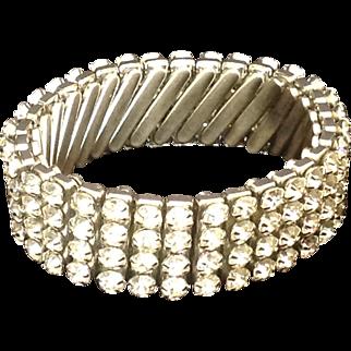 Sparkling vintage rhinestone expansion bracelet marked British Hong Kong