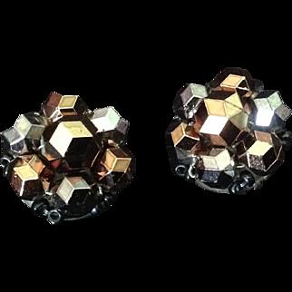 Bead cluster clip earrings in metallic tones. Western Germany