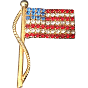 Red, White and Blue Rhinestone American flag pin