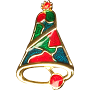 Enamel Christmas Bell Pin Signed B. J.   Beatrix Jewelry