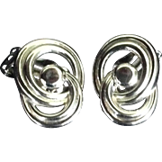 Trifari Silver Tone Entwined Circles Clip Earrings.