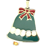 Enamel Christmas Bell Pendant Wallace Silversmiths
