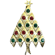 Quilted Christmas Tree with Red and Green Rhinestones signed LIA