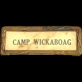 Old Camp Wickaboag West Brookfield, Massachusetts Award Badge
