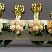 Set of 6 Austrian Celluloid Grape Cluster Ring Clips