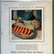 Swift's Premium Hams and Bacon Magazine Advertising 1928