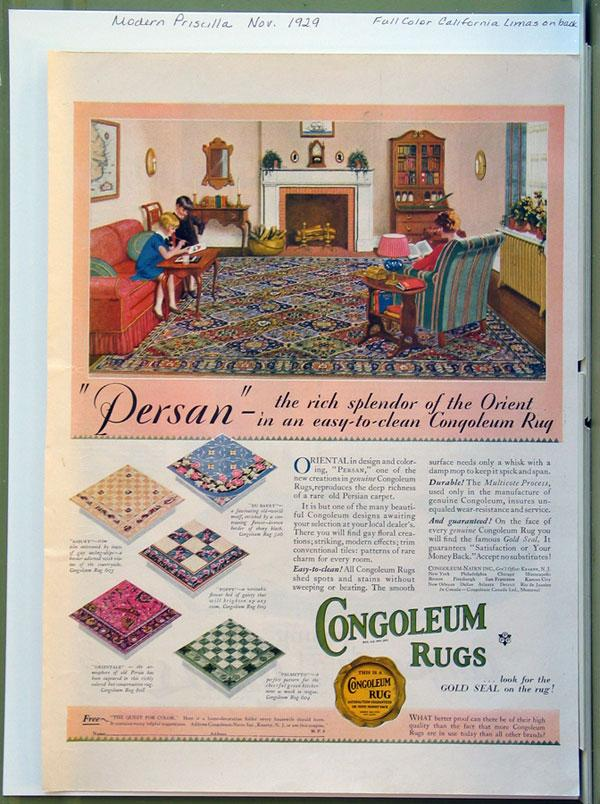 1929 Congoleum Rug Advertising with California Limas on Reverse