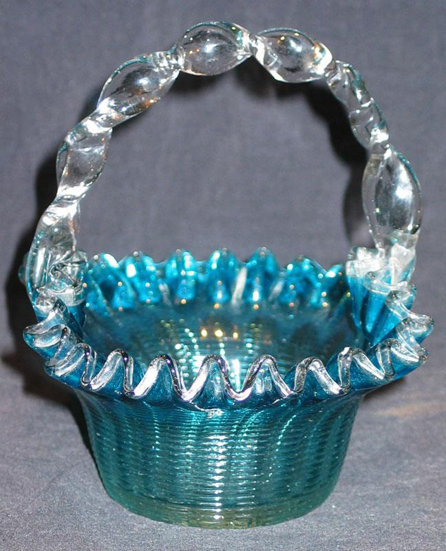 Blue Threaded Glass Basket with Twist Handle