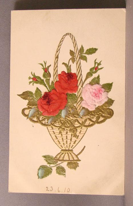 1910 Post Card with Flocked Rose Floral Add-ons