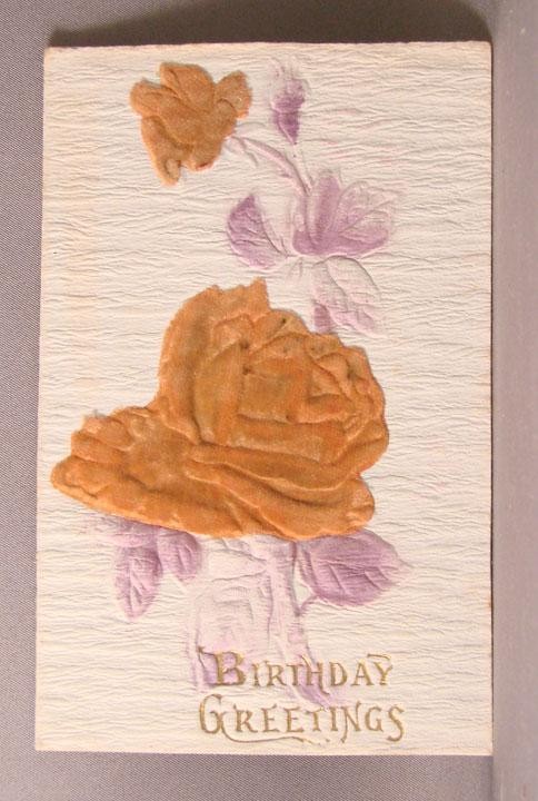 Post Card with Orange Flocked Roses Add-ons