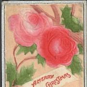Flocked and Embossed Christmas Postcard