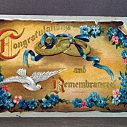 1911 Postcard Congratulations and Remembrances with Entwined Rings