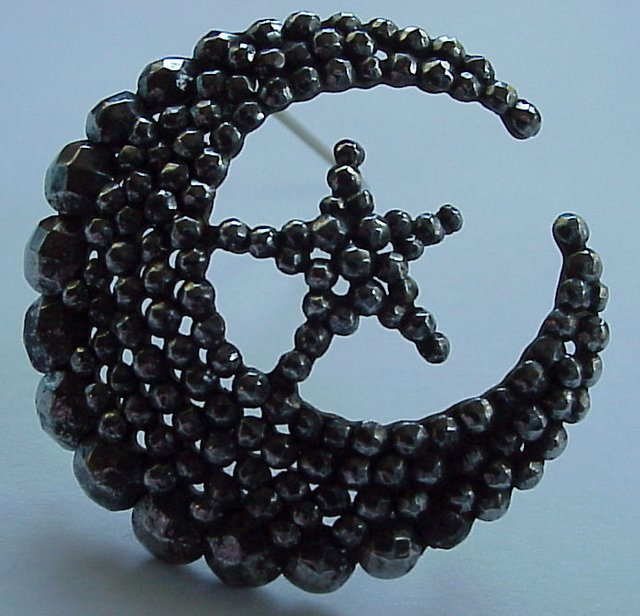 Antique Cut Steel Brooch --- Crescent Moon and Star