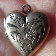 Vintage Sterling Puffy Heart Charm Locket