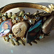 Knock-Out HAR Dragon Tooth Hinged Bracelet with Fantasy Stones