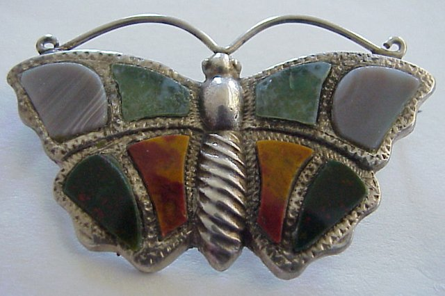 Antique Scottish Agate Figural Butterfly Brooch