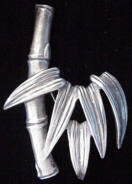 Vintage Sterling Bamboo Brooch by Ming's of Honolulu