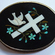 Victorian Dove and Cross Pietra Dura Brooch