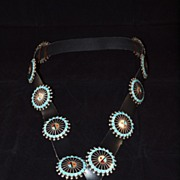 Unique Vintage Zuni Turquoise and Silver Concho Belt