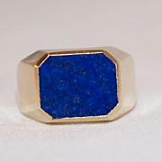Men's 14K Gold Lapis  Lazuli Ring