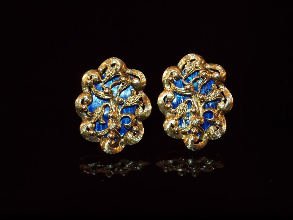 14k gold and blue enamel earrings from cassies on ruby